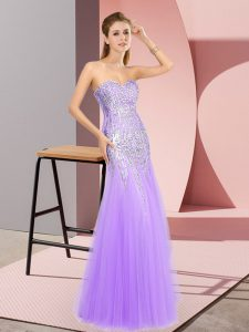 Tulle Sweetheart Sleeveless Zipper Beading Pageant Dress in Lavender