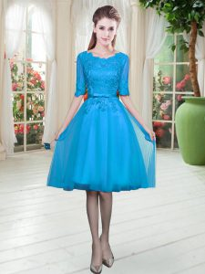 Hot Sale Blue Scoop Lace Up Lace Pageant Dress for Teens Half Sleeves