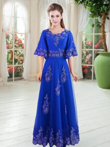 Royal Blue Half Sleeves Tulle Lace Up Pageant Dress Toddler for Prom and Party