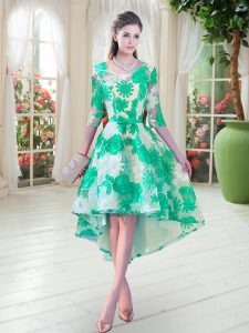 Turquoise Scoop Lace Up Belt Pageant Dress for Teens Half Sleeves