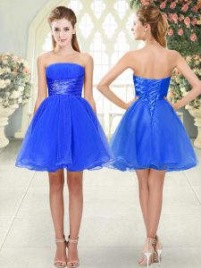 Exceptional Organza Strapless Sleeveless Lace Up Beading High School Pageant Dress in Blue