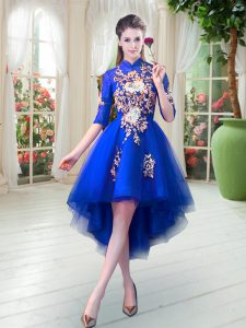 High Low A-line Half Sleeves Royal Blue Pageant Dress for Teens Zipper