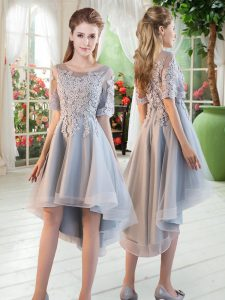 Dazzling Grey A-line Appliques Pageant Dress Wholesale Lace Up Tulle Half Sleeves High Low
