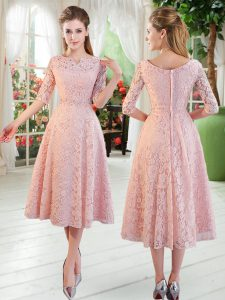 Off The Shoulder Half Sleeves Zipper Pageant Dress Womens Pink Lace