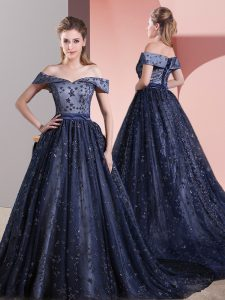 Pretty Beading Pageant Dress Womens Navy Blue Lace Up Sleeveless Court Train