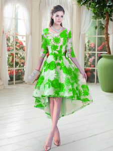 New Arrival High Low A-line Half Sleeves Green Pageant Dresses Lace Up