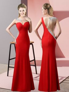 Floor Length Red Custom Made Pageant Dress Satin Sleeveless Beading and Pick Ups