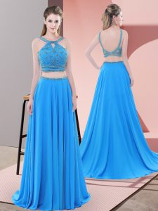 Blue Chiffon Backless Straps Sleeveless Pageant Dress for Teens Sweep Train Beading