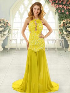 Scoop Sleeveless Glitz Pageant Dress Brush Train Lace Yellow Chiffon