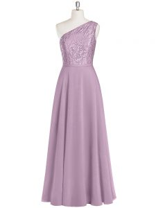Ideal Floor Length Zipper Pageant Dress Wholesale Purple for Prom and Party and Military Ball with Lace