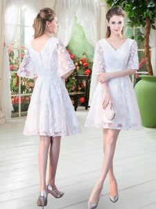 Amazing White Zipper V-neck Half Sleeves Knee Length Pageant Dress for Teens Lace
