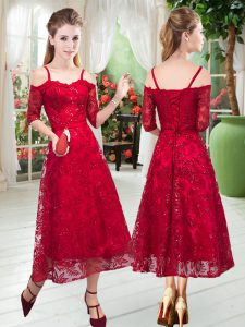 Edgy Red Pageant Dress Wholesale Prom and Party with Lace Spaghetti Straps Half Sleeves Zipper