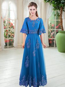 Modest Blue A-line Scoop Half Sleeves Tulle Floor Length Lace Up Lace Pageant Dress Womens