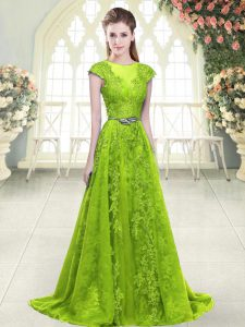 Tulle Sleeveless Winning Pageant Gowns Sweep Train and Beading and Pick Ups