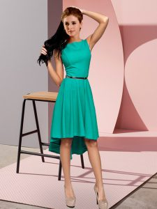 Modern Turquoise Scoop Lace Up Belt Pageant Gowns Sleeveless