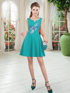 Customized Turquoise Sleeveless Mini Length Appliques Zipper Pageant Dress for Teens