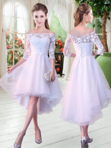Flirting Appliques High School Pageant Dress White Lace Up Half Sleeves High Low