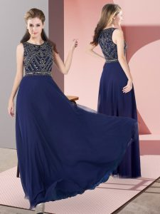 Classical Navy Blue Sleeveless Chiffon Zipper Pageant Dress for Teens for Prom and Party and Military Ball