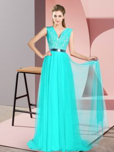 V-neck Sleeveless Tulle Pageant Dress for Womens Beading and Lace Sweep Train Zipper
