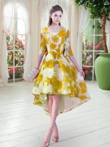 New Arrival Half Sleeves Lace High Low Lace Up Custom Made Pageant Dress in Multi-color with Belt