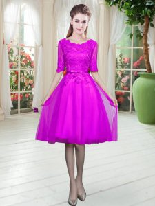 Chic Scoop Half Sleeves Lace Up Pageant Dress for Teens Fuchsia Tulle
