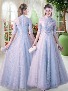 Chic A-line Pageant Dress for Girls Grey High-neck Lace Half Sleeves Floor Length Zipper