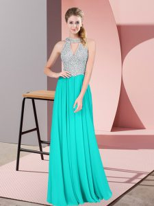 Beautiful Turquoise Sleeveless Satin Backless Glitz Pageant Dress for Prom and Party