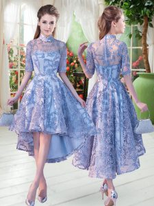 Ideal Blue Lace Up Pageant Dress Toddler Half Sleeves High Low Appliques