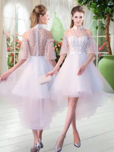 White Half Sleeves High Low Lace Zipper Pageant Dress for Teens