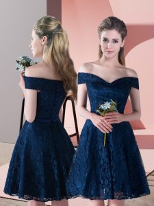 Fantastic Navy Blue Sleeveless Lace Up High School Pageant Dress for Prom and Party