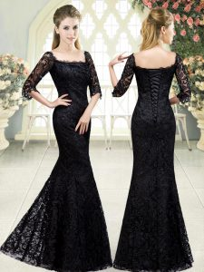 Half Sleeves Sweep Train Lace Up Beading and Lace Pageant Gowns