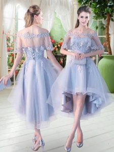 Fashion High Low Lace Up Glitz Pageant Dress Light Blue for Prom and Party with Appliques