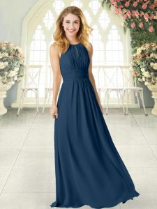 Navy Blue Custom Made Pageant Dress Prom and Party with Ruching Scoop Sleeveless Zipper