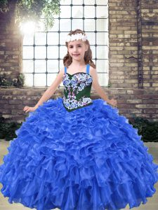 Exquisite Organza Sleeveless Floor Length Winning Pageant Gowns and Embroidery and Ruffles