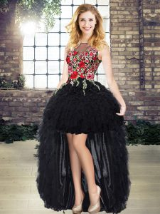 Top Selling High Low Black Pageant Dress for Teens Organza Sleeveless Embroidery and Ruffles