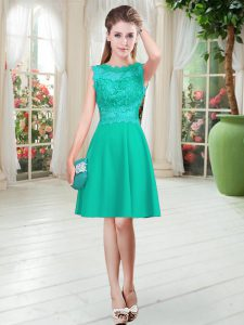 Scalloped Sleeveless Pageant Dresses Knee Length Lace Turquoise Satin