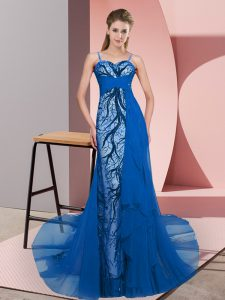 Glorious Blue Custom Made Pageant Dress Prom and Party with Beading and Lace Spaghetti Straps Sleeveless Sweep Train Zipper