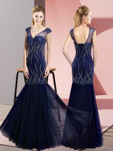 Custom Designed V-neck Sleeveless Lace Up Pageant Dress for Teens Navy Blue Chiffon