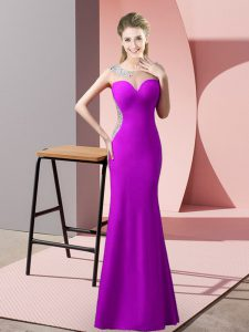 Enchanting Floor Length Mermaid Sleeveless Purple Pageant Dress Sweep Train Zipper