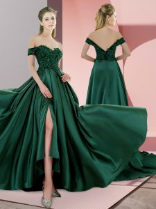 New Arrival Green Satin Lace Up Spaghetti Straps Sleeveless Glitz Pageant Dress Sweep Train Beading