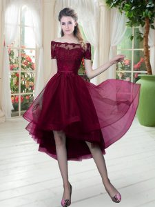 Top Selling Short Sleeves Lace Lace Up High School Pageant Dress