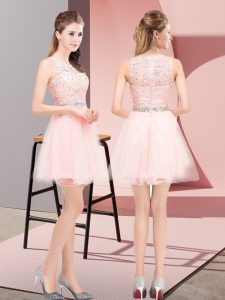 Pink Sleeveless Tulle Lace Up Pageant Dress Wholesale for Prom and Party