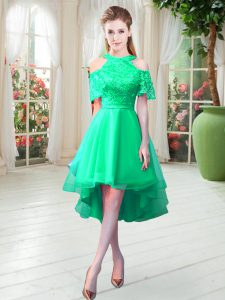 Beautiful Turquoise High-neck Neckline Lace Winning Pageant Gowns Short Sleeves Zipper
