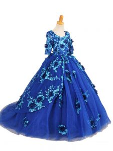 Blue Half Sleeves Brush Train Beading and Appliques Pageant Dress for Teens