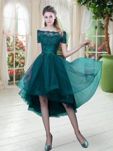 On Sale Off The Shoulder Short Sleeves Pageant Dress Womens High Low Lace Peacock Green Tulle