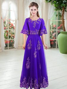 Deluxe Purple Half Sleeves Floor Length Lace Lace Up High School Pageant Dress