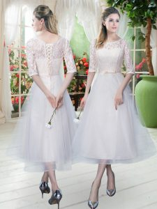 Half Sleeves Lace Up Tea Length Lace Pageant Dress for Womens