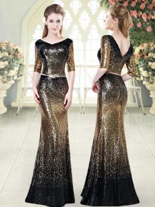Affordable V-neck Half Sleeves Zipper Evening Gowns Gold Sequined