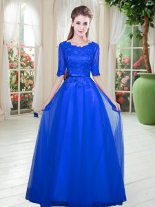 Decent Royal Blue Tulle Lace Up Scoop Half Sleeves Floor Length Pageant Dress Toddler Lace
