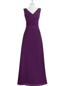 Eggplant Purple Zipper Pageant Dress Ruching Sleeveless Floor Length